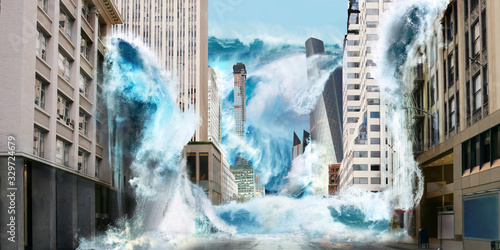 Foto Big tsunami wave destroy city with flooding on streets with skyscrapers new your