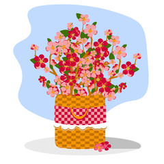 bouquet broken of branches blossom sakura or cherry trees with pink flowers in brown wicker basket with red checkered linen and white lace. Romantic illustration in flat style. Vector on spring theme