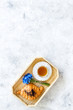 canvas print picture - Breakfast with summer flowers. Tea, croissant and cornflowers on light background top-down copy space