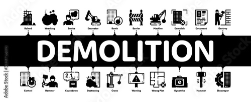 Fotografie, Obraz Demolition Building Minimal Infographic Web Banner Vector