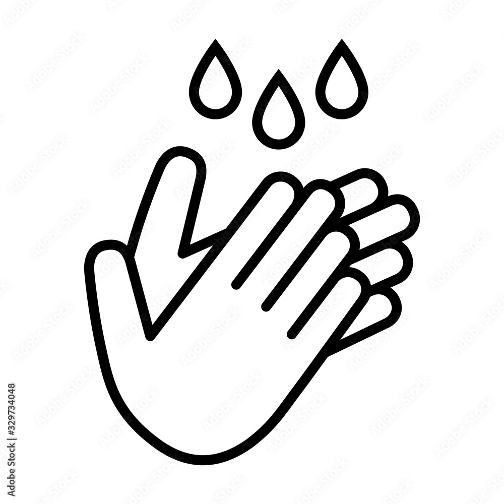 Fototapeta Wash / washing hands to keep clean line art vector icon for websites and print