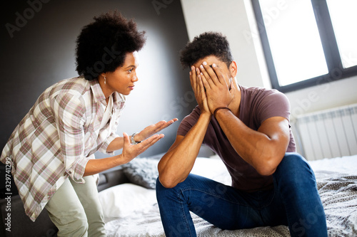Photo Couple having argument and fight, trying to save marriage