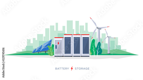 Fototapeta Vector illustration of large rechargeable lithium-ion battery energy storage station and renewable electric power station with solar panels and wind turbines. Backup power energy storage system. obraz