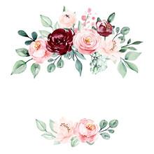 Wreath Of Watercolor Flowers R...