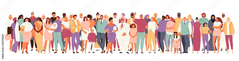 Fototapeta Multinational and multicultural crowd of people . People of different ages and appearance large set on a white background