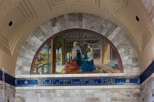 Bethany, Betania, Israel January 31, 2020: Church in Bethany in commemorating the home of Mari, Martha and Lazarus, Jesus' friends as well as the tomb of Lazarus Wallpaper Mural
