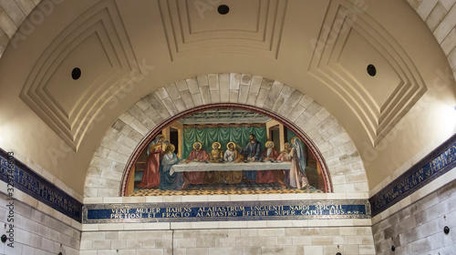 Bethany, Betania, Israel January 31, 2020: Church in Bethany in commemorating the home of Mari, Martha and Lazarus, Jesus' friends as well as the tomb of Lazarus Canvas Print