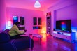 canvas print picture - Young spanish man plays videogames in a colorful room while protecting to coronavirus COVID-19 due to hysteria and panic caused by media and governments a very contagious