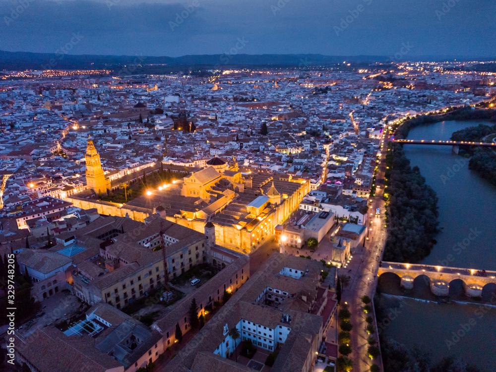 Fototapeta Night aerial view of Cordoba