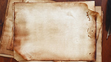 Old Paper On Brown Wood Textur...