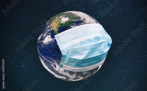 Fototapeta The planet earth is wearing a protective mask in the space
