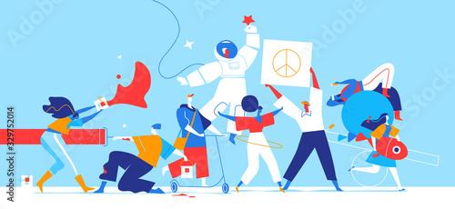 Vászonkép Giovani ragazzi creativi esprimono la loro personalità
