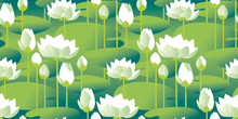 Decorative Water Lily Seamless...