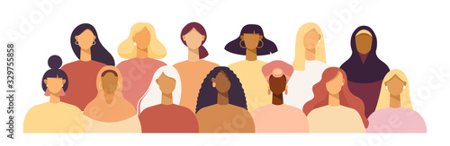 Papel de parede Group of women of different nationalities and cultures, skin colors and hairstyles
