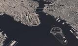 Fototapeta Nowy Jork - New York city map 3D Rendering. Aerial satellite view.