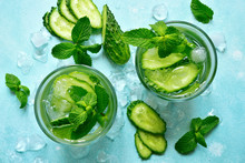 Summer Refreshing Drink With Cucumber And Mint. Top View With Copy Space.