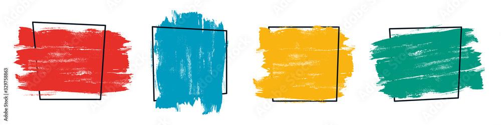 Fototapeta Dirty artistic design element, box, frame, banner or background for text. Grunge style.