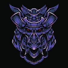 Oni Samurai Head Vector Illustration