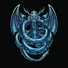 Blue Dragon Art Vector Illustration
