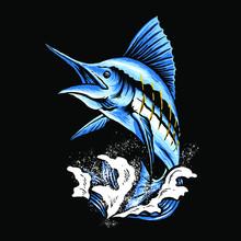 Marlin Fish Art Vector Illustr...