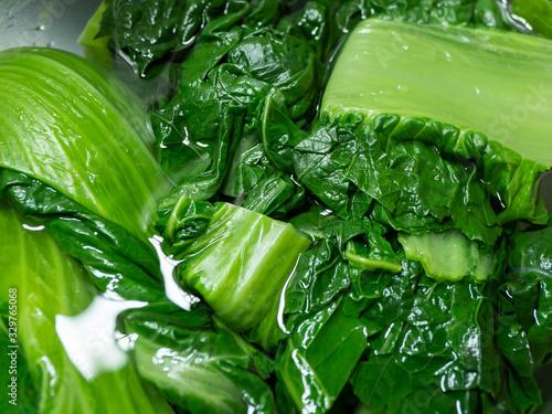 Photo Removal of Astringent Taste, 高菜を水につけてアク抜きする様子 調理