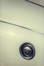 Fuel Cap On A White Vintage Car