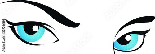 Obraz ilustración vectorial ojos azules de mujer - fototapety do salonu