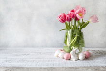 Spring Easter Composition With Pink Tulips And Eggs. Space For Text. Close Up.
