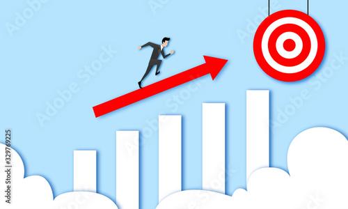 Businessmann rennt Graph hinauf, Strategie/Konzept, Schnell zum Ziel, Zuwachs Canvas Print