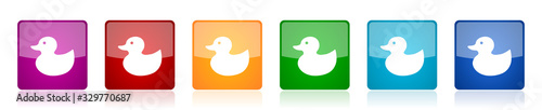 Fényképezés Duck toy, bird icon set, colorful square glossy vector illustrations in 6 option