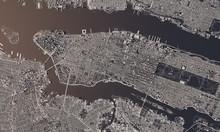 New York City Map 3D Rendering. Aerial Satellite View.