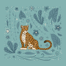 Vector Illustration, A Cartoon Jaguar, On A Blue Background With Flowers, Leaves And Spots.