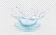 Blue water splash and drops isolated on transparent background.