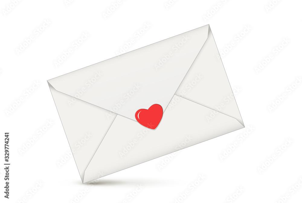Fototapeta Brief mit Herz, Liebesbotschaft in Briefumschlag, Vektor illustration isoliert auf weißem Hintergrund