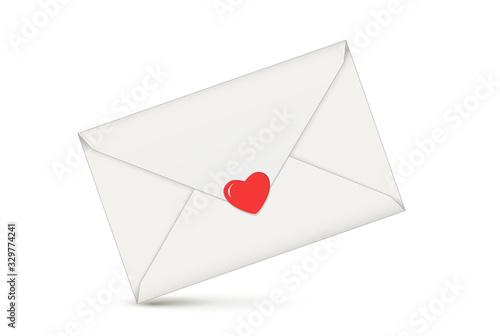 Obraz Brief mit Herz, Liebesbotschaft in Briefumschlag, Vektor illustration isoliert auf weißem Hintergrund - fototapety do salonu