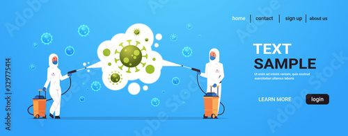 Fototapeta medical scientists in hazmat suits cleaning and disinfecting coronavirus cells epidemic MERS-CoV virus concept wuhan 2019-nCoV pandemic health risk full length horizontal copy space obraz