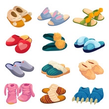 House Slippers Set, Soft Comfortable Slip On Shoe For Home