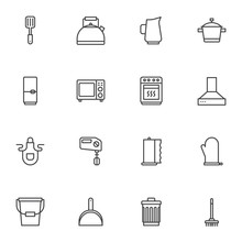 Household Elements Line Icons ...