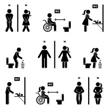 Toilet Icon Stick Figure Man And Woman Symbol Silhouette Pictogram Vector Illustration Set. Funny Urgent Pee, Baby Diaper Change Room, Handicap Disable Person Signs On White Background
