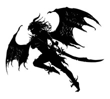 A Beautiful Demoness With A Long Curved Sword, With Torn Wings Like A Bat, Furiously Rushes Into Battle. 2d Illustration.