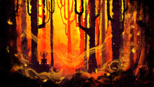 A Magical Forest With Fireflie...
