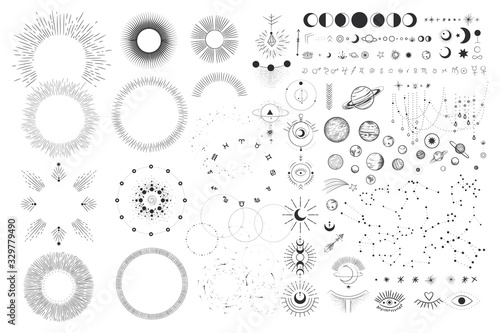 Fototapeta Vector illustration set of moon phases. Different stages of moonlight activity in vintage engraving style. Zodiac Signs obraz
