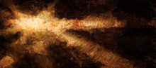 Abstract Background, The Sun Is Ochre In Color, Surrounded By Dark Clouds, Drawn With An Imitation Of The Texture Of Oil. 2D Illustration.