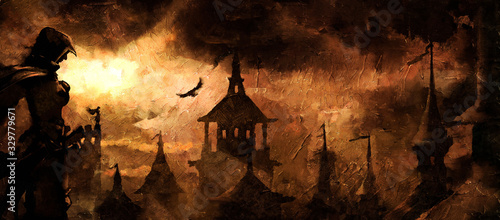 Obraz The city in the desert, lit by the yellow sun from under the clouds, on the roofs are warriors in hoods with cloaks and sabers. 2D illustration. - fototapety do salonu