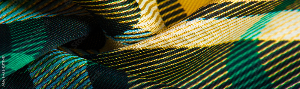 Texture, background, pattern, checkered fabric, yellow-green-white-blue colors, Scottish motifs in this fabric, your design with the sounds of bagpipes and fragrant whiskey