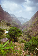 Santo Antao Cape Verde Cabo Verde. Canyon Ribeira Da Torre Covered With Lush Vegetation. Cultivation On Steep Terraced Hills Banana Trees, Sugarcane And Coffee. Xo-Xo Valley