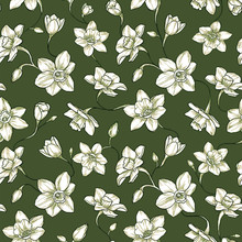 Narcissus Floral Pattern. Seamless Design For Textile, Green Scrapbooking Paper Or Wallpaper