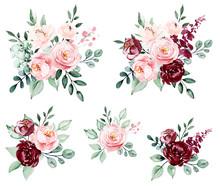Roses, Set Watercolor Flowers ...