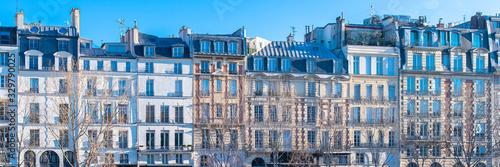 Paris, ile de la Cite and quai des Orfevres, beautiful ancient buildings, panora Fototapete