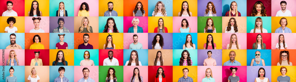 Obraz Photo collage of cheerful excited glad optimistic crowd of different human have toothy beaming smile wear casual clothes isolated over bright multicolored background fototapeta, plakat